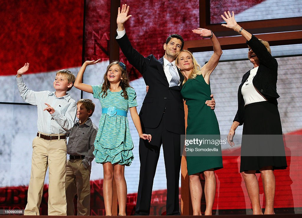 Republican vice presidential candidate, U.S. Rep. Paul Ryan (R-WI) waves with his family, daughter Liza Ryan, sons Charlie Ryan (L) and Sam Ryan and wife, Janna Ryan (2R) and mother Elizabeth Ryan (R) during the third day of the Republican National Convention at the Tampa Bay Times Forum on August 29, 2012 in Tampa, Florida. Former Massachusetts Gov. Mitt Romney was nominated as the Republican presidential candidate during the RNC, which is scheduled to conclude August 30.