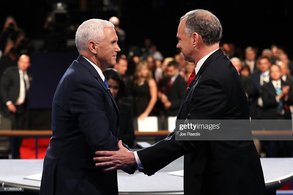Republican vice presidential nominee Mike Pence and Democratic vice presidential nominee Tim Kaine shake hands on stage following the Vice Presidential Debate at Longwood University on October 4, 2016 in Farmville, Virginia. This is the second of four debates during the presidential election season and the only debate between the vice presidential candidates.