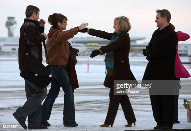 Republican vicepresidential nominee Alaska Gov Sarah Palin and with her husband Todd Palin bid farewell to Alaska Lt Gov Sean Parnell and his wife...