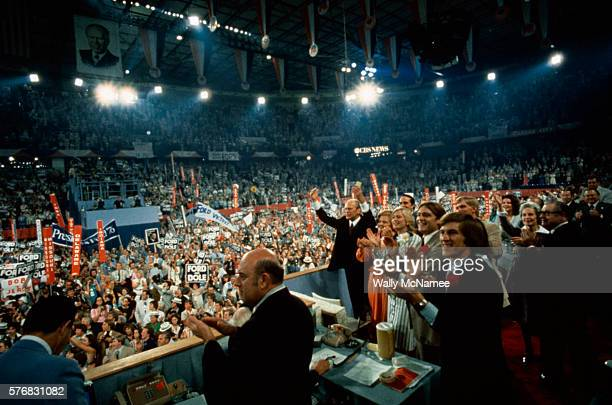 Republicans at the National Convention applaud after President Gerald Ford was chosen as the party Presidential candidate in 1976