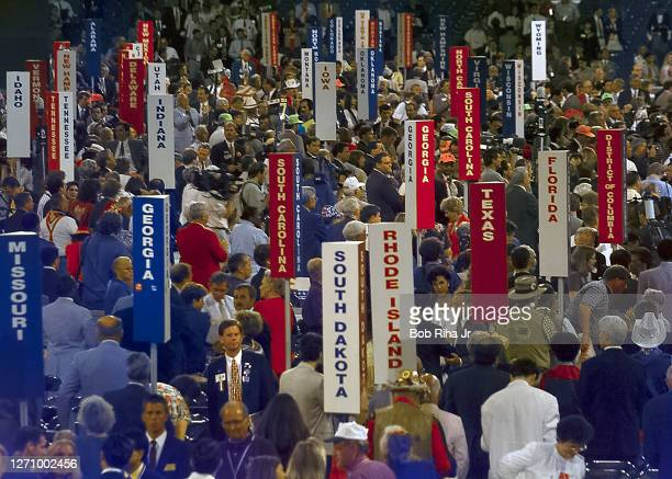 Republicans with signs celebrate their candidate at the Republican National Convention, August 12,1996 in San Diego, California.
