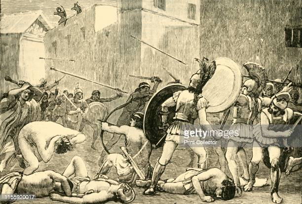 Repulse of Pyrrhus from Sparta' 1890 Pyrrhus in retreat at the Siege of Sparta 272 BC from Spartans defending their city under command of Areus I...
