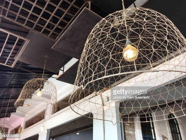 Repurposed Wire Chicken Coop Made Into Light Fixture, Cambodia
