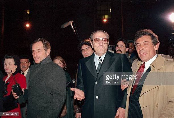 Reputed Mafia boss Paul Castellano is leave Federal Court with his attorney James LaRossa after posting $2 million bail Anthony Salerno posted the...