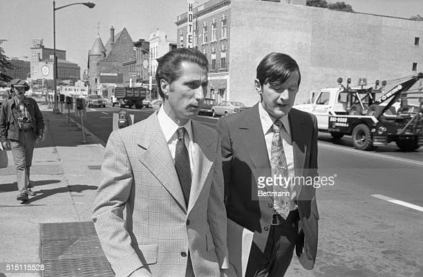 Reputed underworld figure Anthony Louis Manna of Jersey City NJ enters Mercer County Courthouse in Trenton with his attorney Don Conway Manna has...