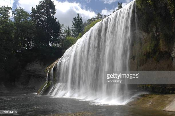 rere waterfall, new zealand - gisborne stock photos and pictures