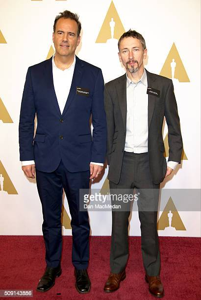 Rerecording mixer Christopher Scarabosio and production sound mixer Stuart Wilson attend the 88th Annual Academy Awards Nominee Luncheon in Beverly...