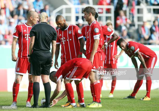 Rerferee Bibiana Steinhaus and Franck Ribery of Bayern Muenchen during the DFB Cup first round match between Chemnitzer FC and FC Bayern Muenchen at...
