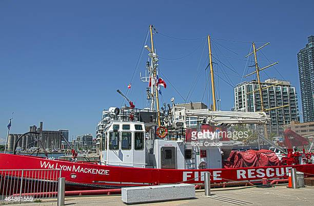 CONTENT] Rescue boat docked at Harbourfront Toronto 3 shots merged into one