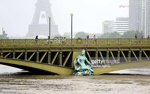 A rescue boat is seen on the Seine river is seen after heavy rain in Paris in France on June 05 2016 French Government activates red alert due to...