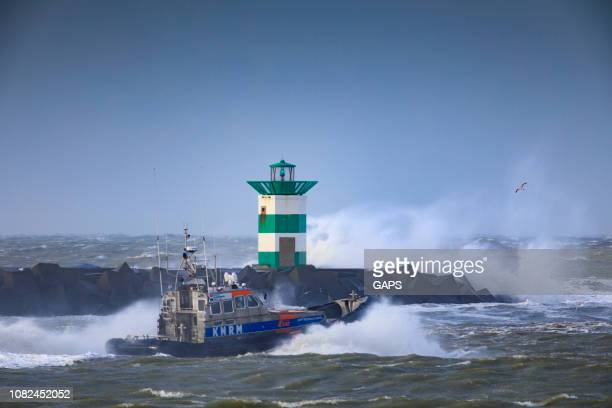 rescue boat leaving the port of Scheveningen