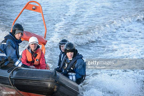 rescue boat training at nautical training facility - rescue stock pictures, royalty-free photos & images