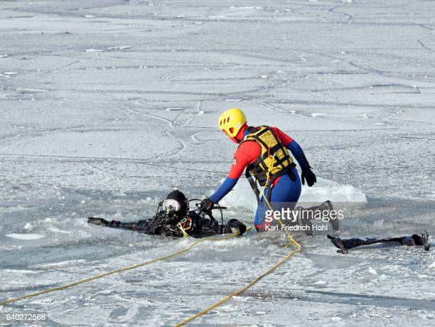 Rescue diver during training in ice water