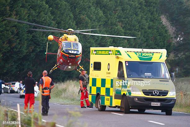 A rescue helicopter delivers supplies on a property near Kawerau on March 9 2016 in Rotorua New Zealand Four police officers were shot and injured...