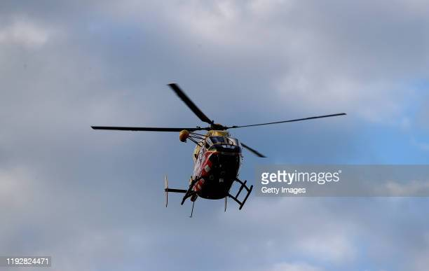 A rescue helicopter is pictured arriving at the Whakatane Airport on December 09 2019 in Whakatane New Zealand One person has died several are...