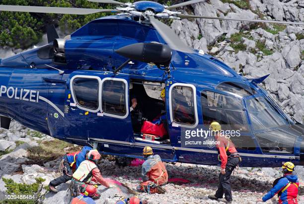 Rescue helpers carry injured cave explorer Johann Westhauser on a stretcher to a helicopter near the entrance to the Riesending cave at Untersberg...