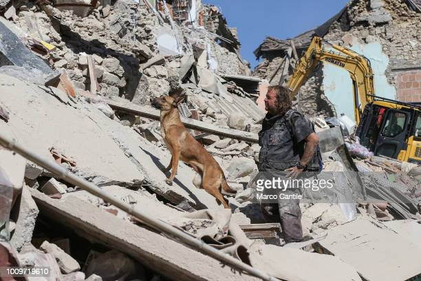 A rescue man and his dog on the rubble of a two houses completely collapsed after the earthquake that hit the city of Amatrice in central Italy