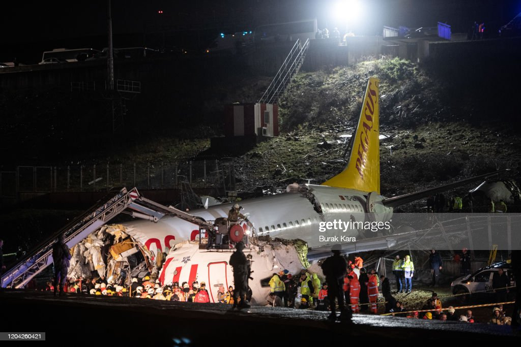 Plane Skids Off Runway In Istanbul : News Photo