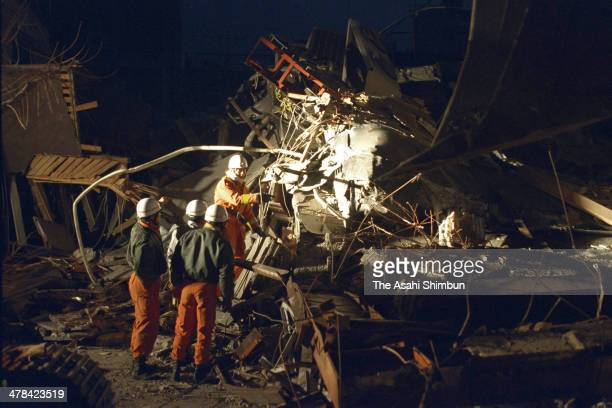 Rescue operation continues after the strong earthquake on Janaury 17 1995 in Kobe Hyogo Japan Magnitude 73 strong earthquake jolted in the morning of...