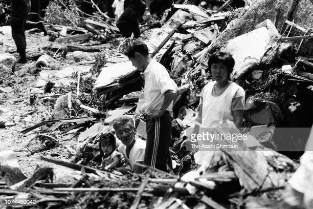 Rescue operation continues after Typhoon Bess hits across Japan on August 2, 1982 in Ureshino, Mie, Japan.