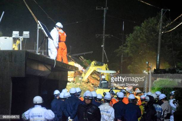 Rescue operation continues at a landslide site at Sakurajima Island on July 7 2018 in Kagoshima Japan 51 people were killed and 58 missing The deluge...