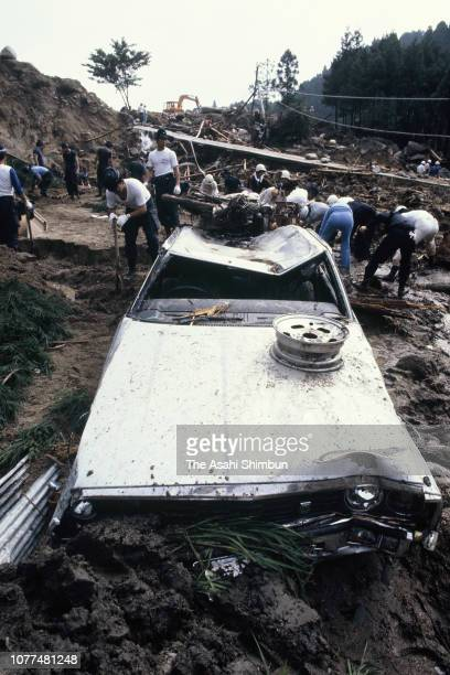Rescue operation continues at a landslide site triggered by Typhoon Bess on August 4, 1982 in Ureshino, Mie, Japan.