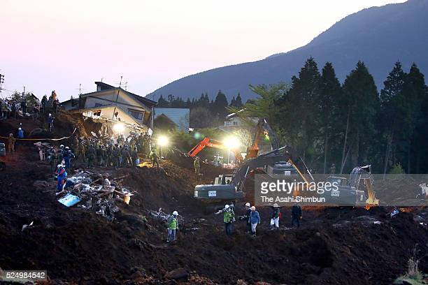 Rescue operation continues at night on April 19, 2016 in Minamiaso, Kumamoto, Japan. A total of 42 people have died and roughly 1,100 have been...