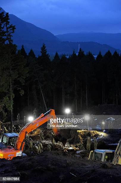 Rescue operation continues on April 22, 2016 in Minamiaso, Kumamoto, Japan. Southern Island of Kyushu has been devastated by two strong earthquakes...