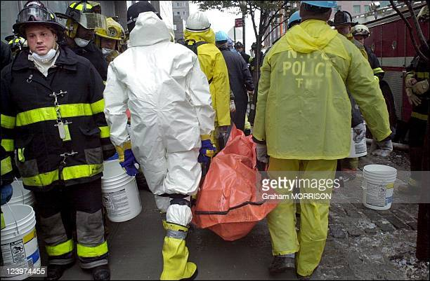 Rescue operations at Ground Zero Firefighters finding victims and searching for survivors at the wreckage of the World Trade Center Towers following...