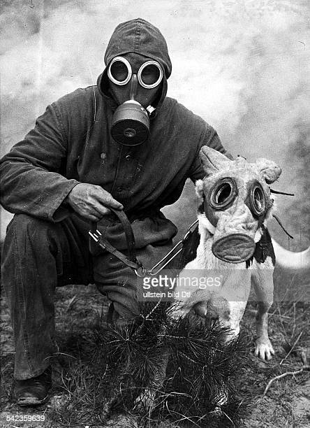 Rescue services Airraid warden with his dog both are wearing gas masks Vintage property of ullstein bild