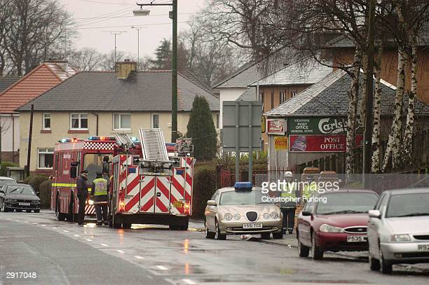 Rescue services attend a fire at Rose Park old peoples home on January 31 2004 in Uddingston near Glasgow England The fire broke out in the early...