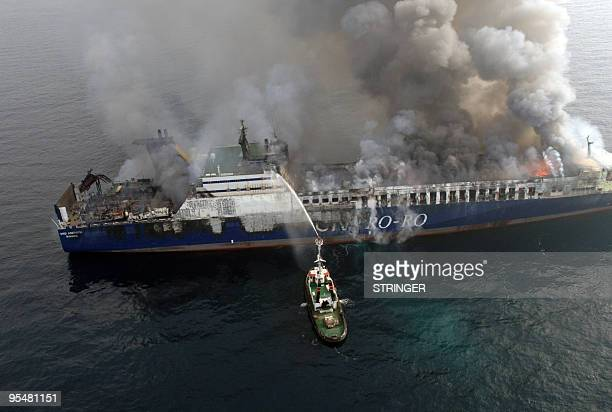 A rescue ship tries to extinguish fire on a Turkish cargo ship which caught fire off the Croatia�s north coast 06 February 2008 The ship which is...
