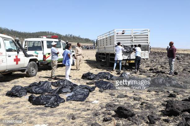 Rescue team collect bodies in bags at the crash site of Ethiopia Airlines near Bishoftu a town some 60 kilometres southeast of Addis Ababa Ethiopia...