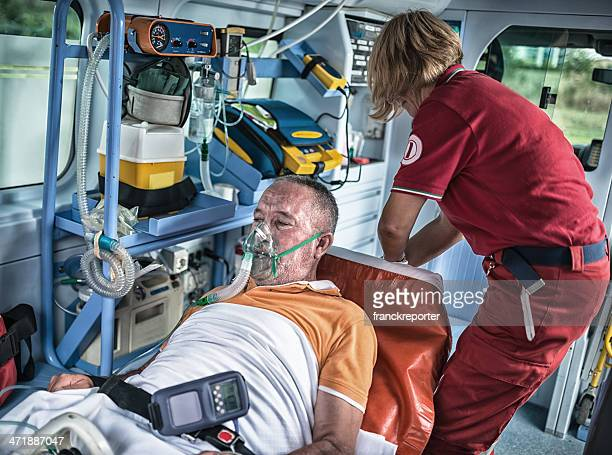 rescue team inside the ambulance - medical symbol stock pictures, royalty-free photos & images