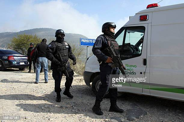 Rescue teams and Federal Police search for the plane where Singer Jenni Rivera was traveling on December 10 2012 in Nuevo Leon Mexico
