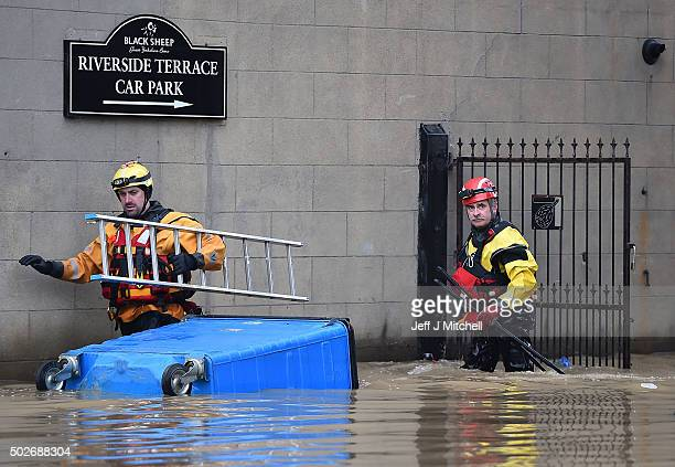 Rescue teams help with the flood relief effort after the rivers Ouse and Foss burst their banks on December 28 2015 in York United Kingdom United...
