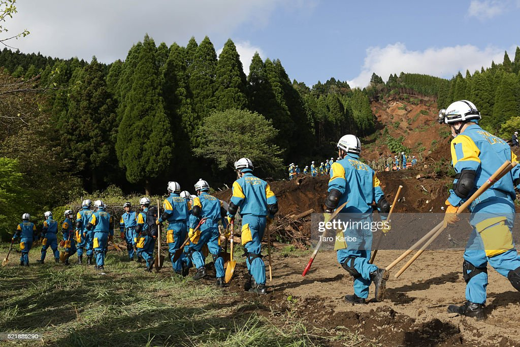 Rescue teams prepare to search for survivors on April 17, 2016 in Kumamoto, Japan. A magnitude-7.3 earthquake hit Kumamoto prefecture on Japan's Kyushu Island on Saturday after one measuring 6.4 struck on Thursday. As of Sunday, reports indicate that 42 people have been killed, 1,500 were injured, and 11 people remain missing. An estimated 80,000 homes are without power and 400,000 homes have no running water.