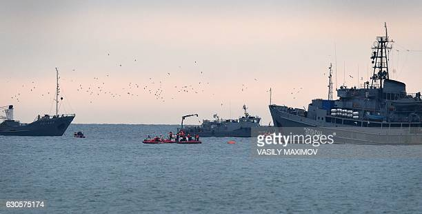 Rescue vessels search the Black Sea outside Sochi on December 27 two days after a military plane carrying 92 people including dozens of members of...