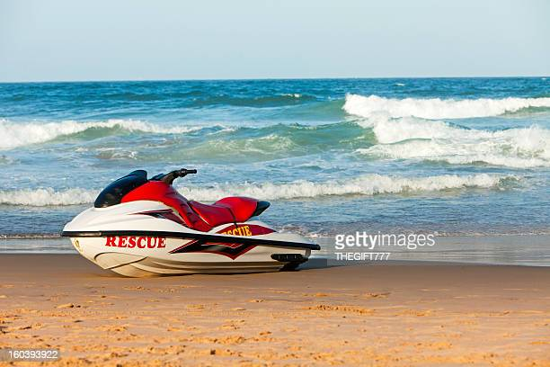 rescue wetbike on the beach - durban beach stock photos and pictures