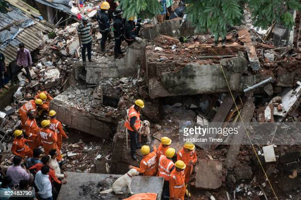 Rescue work in progress after a fourstorey building Sai Darshan collapsed fourteen fire engines one rescue van and an ambulance have been rushed to...