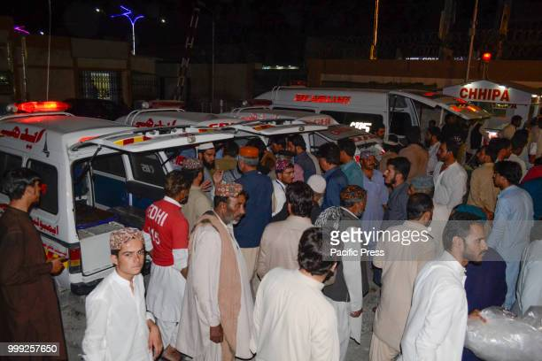 QUETTA BALOCHISTAN PAKISTAN Rescue worker shifting the injured and dead bodys to a hospital A suicide bombing attack on Balochistan Awami Party...