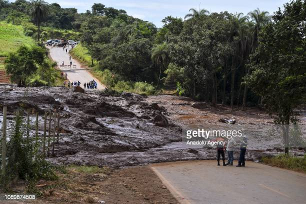 Rescue workers are seen at the scene after a tailings dam collapsed at an iron ore mine in Brumadinho state of Minas Gerias in southeastern Brazil on...