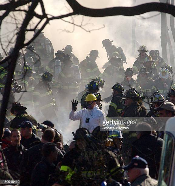 Rescue workers on the scene of the crash of American Airlines Flight 587 in Rockaway Beach Queens New York More than 260 people died in the crash in...