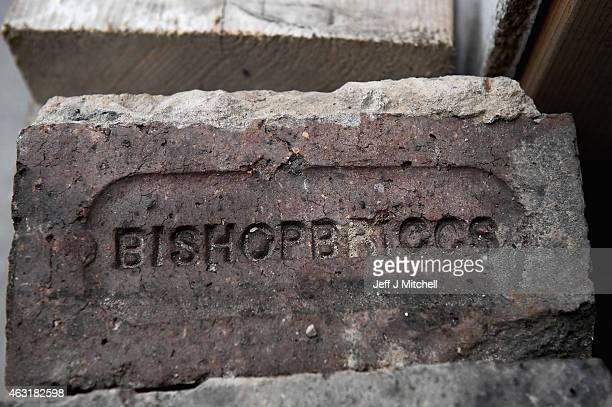 Rescued brick work from Glasgow School of Art Mackintosh Library on February 11 2015 in Glasgow Scotland Stabilising work continues following the...