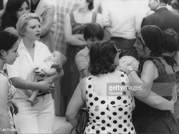 Rescued Israeli hostages arriving at Orly Airport France after Operation Entebbe in which Israeli special forces rescued 100 hostages held at Entebbe...