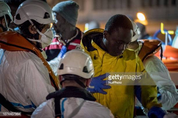 A rescued migrant being transferred to the Care Unit where the Red Cross staffs attended to him Malaga Spain