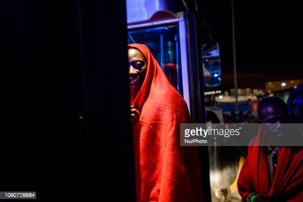 A rescued migrant going onto the bus to go to a center Malaga The Maritime Spanish Vessel SAR Mastelero rescued three dinghies with a total 139...