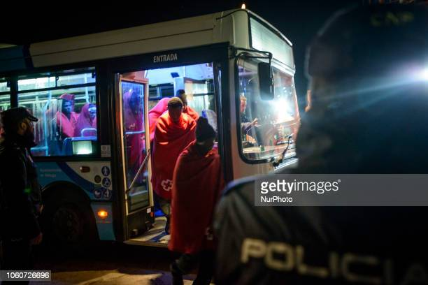 Rescued migrants being transferred to the Red Cross tent On 11 November 2018 in Malaga Spain The Maritime Spanish Vessel SAR Mastelero rescued three...