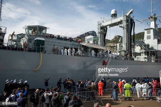 Rescued migrants disembark from the Spanish navy ship 'Cantabria' on November 5 2017 in Salerno Italy The Spanish ship rescued around 400 migrants...