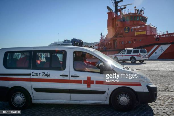 Rescued migrants inside of the Red Cross van to be transferred to the Care unit on January 9 Malaga Southern Spain